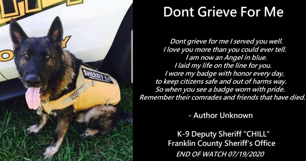 K-9 Officer Chill and memorial poem
